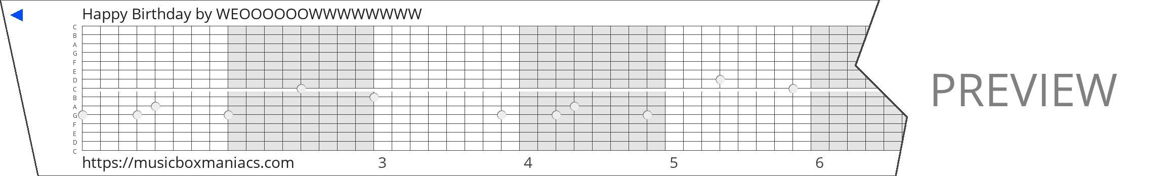 Happy Birthday 15 note music box paper strip