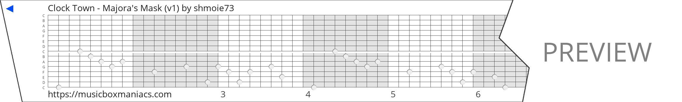 Clock Town - Majora's Mask (v1) 15 note music box paper strip