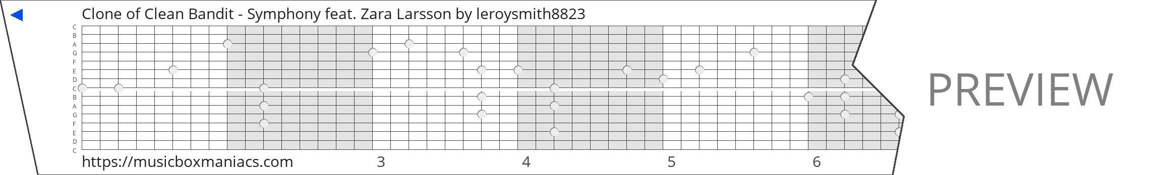 Clone of Clean Bandit - Symphony feat. Zara Larsson 15 note music box paper strip