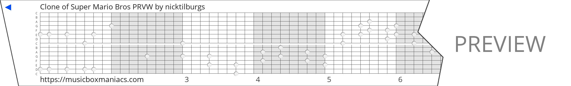 Clone of Super Mario Bros PRVW 15 note music box paper strip