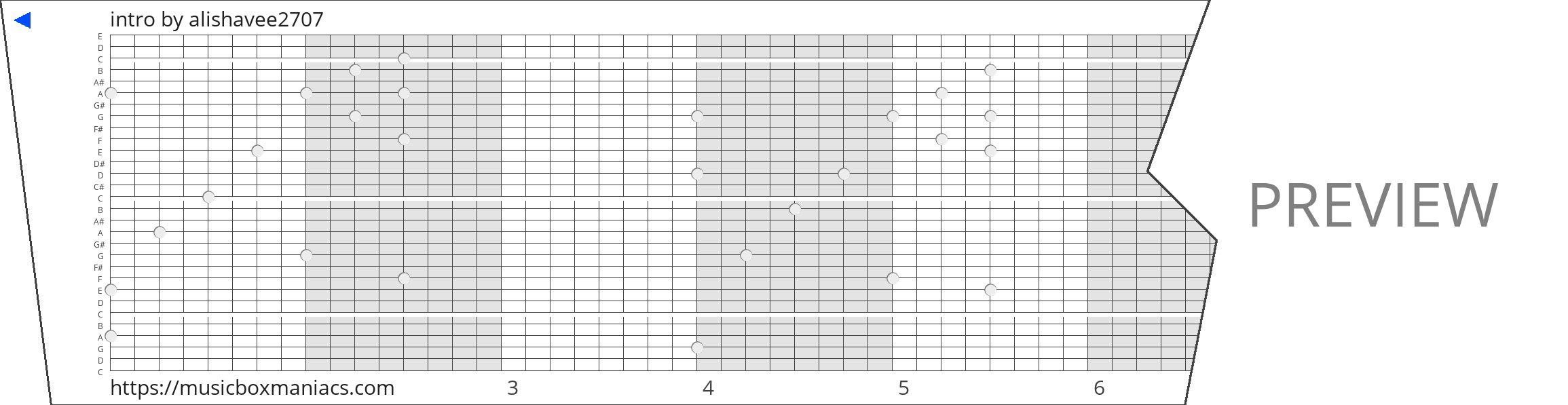 intro 30 note music box paper strip