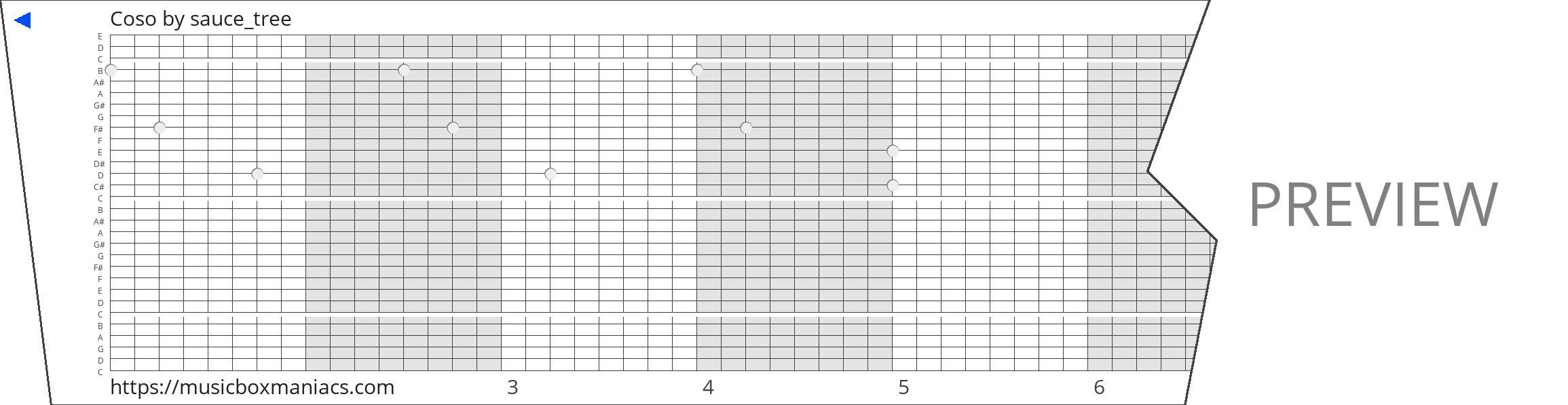 Coso 30 note music box paper strip