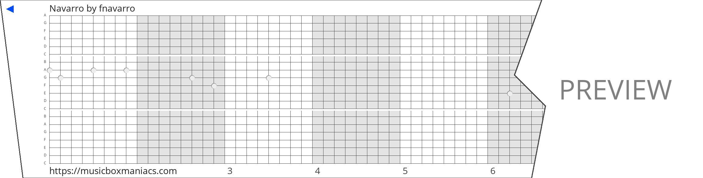 Navarro 20 note music box paper strip