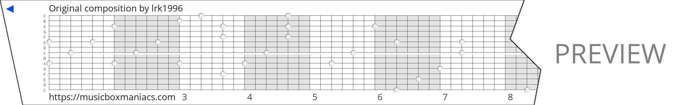 Original composition 15 note music box paper strip