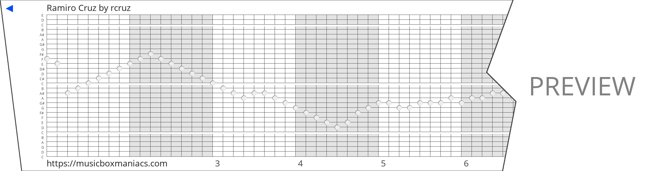 Ramiro Cruz 30 note music box paper strip