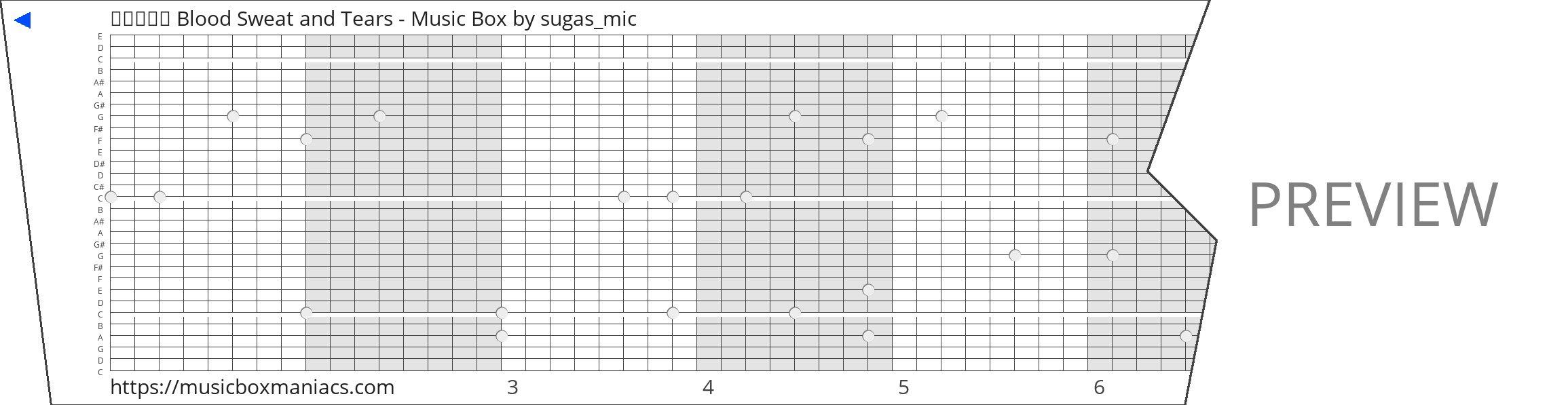방탄소년단 Blood Sweat and Tears - Music Box 30 note music box paper strip