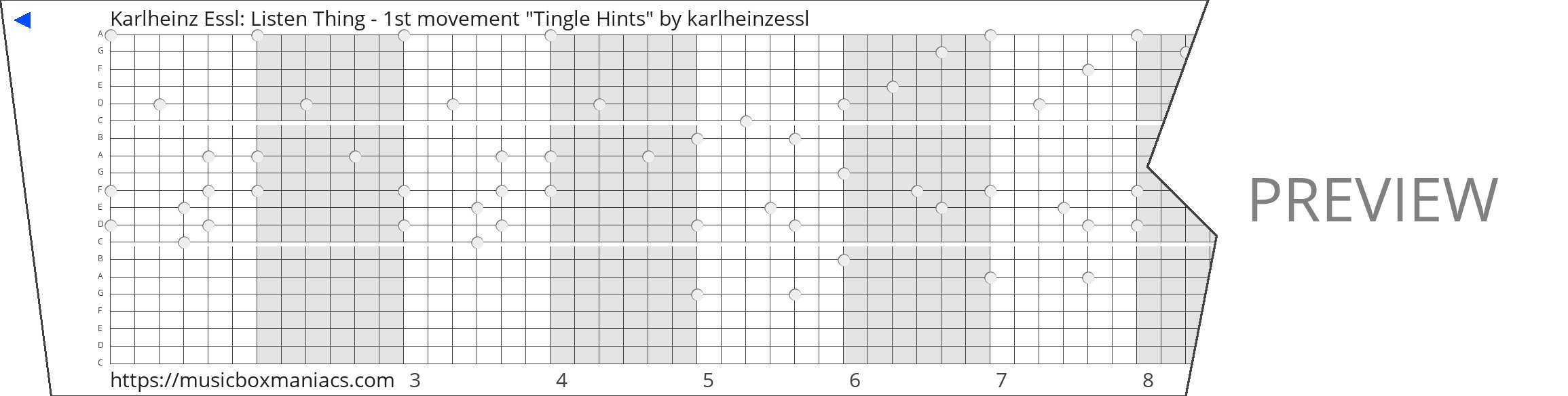 "Karlheinz Essl: Listen Thing - 1st movement ""Tingle Hints"" 20 note music box paper strip"