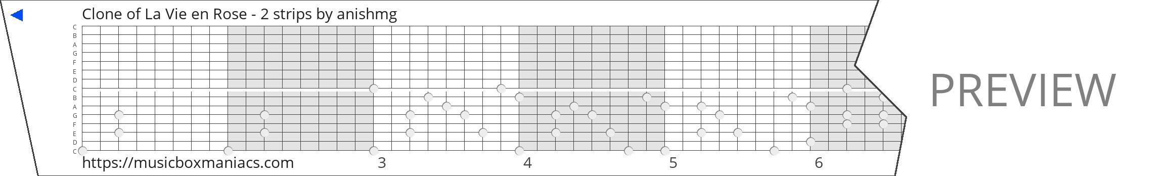 Clone of La Vie en Rose - 2 strips 15 note music box paper strip