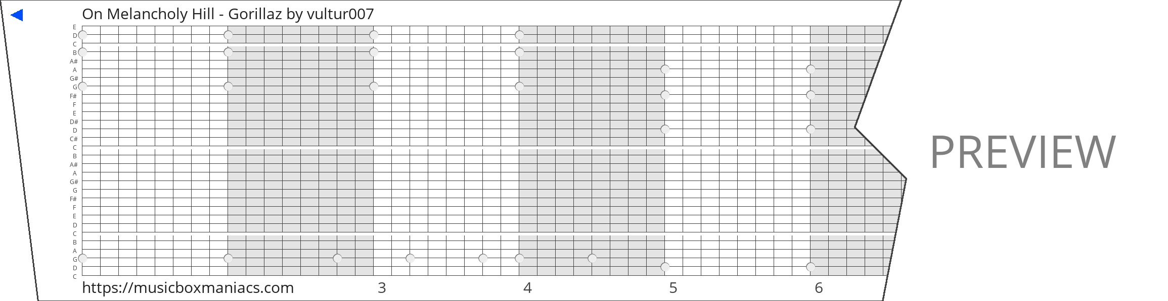 On Melancholy Hill - Gorillaz 30 note music box paper strip