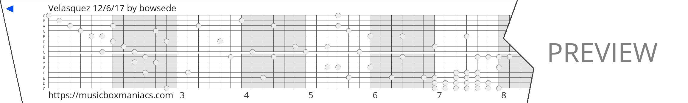 Velasquez 12/6/17 15 note music box paper strip