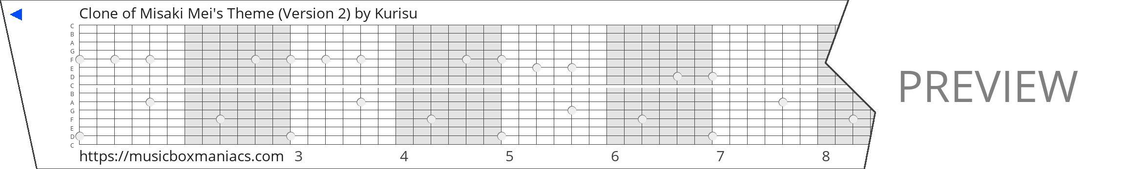 Clone of Misaki Mei's Theme (Version 2) 15 note music box paper strip