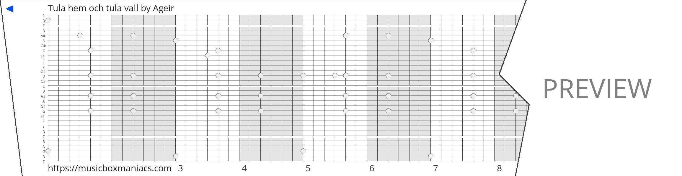Tula hem och tula vall 30 note music box paper strip