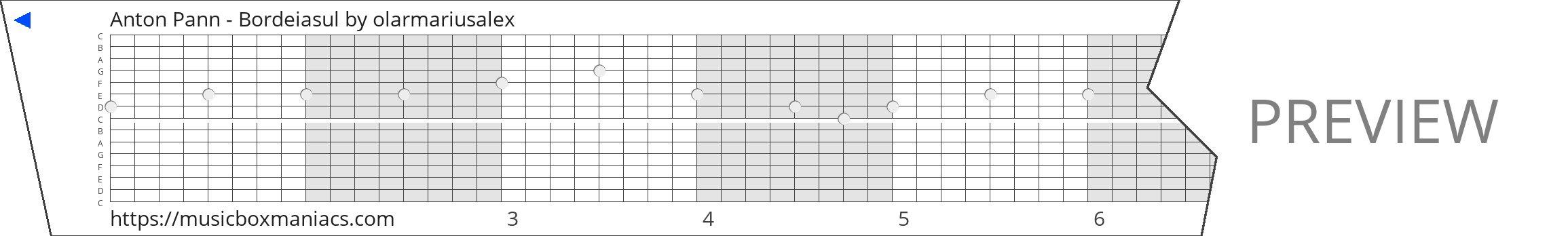 Anton Pann - Bordeiasul 15 note music box paper strip