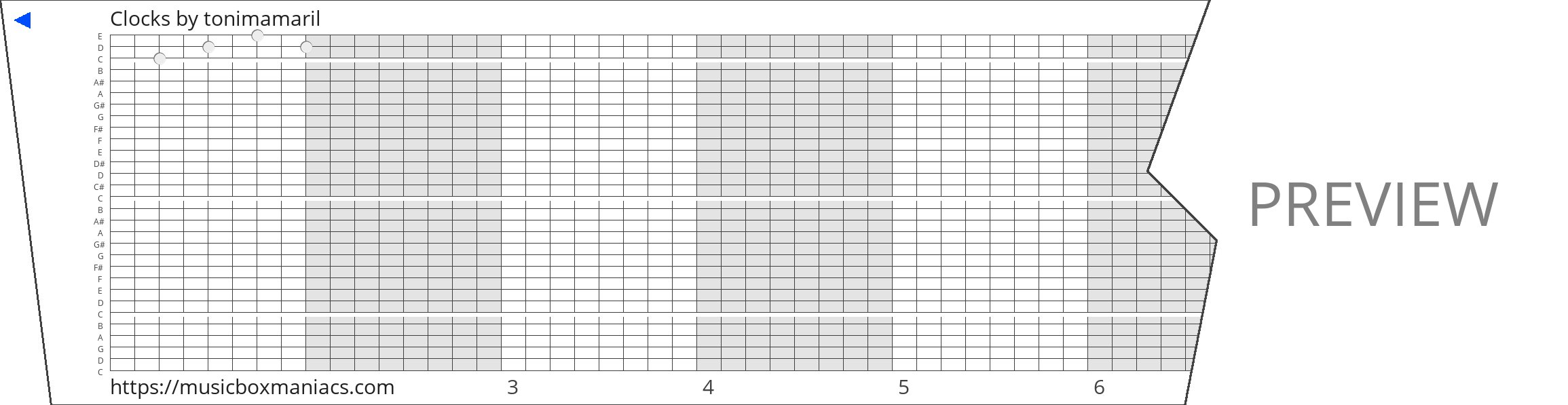 Clocks 30 note music box paper strip