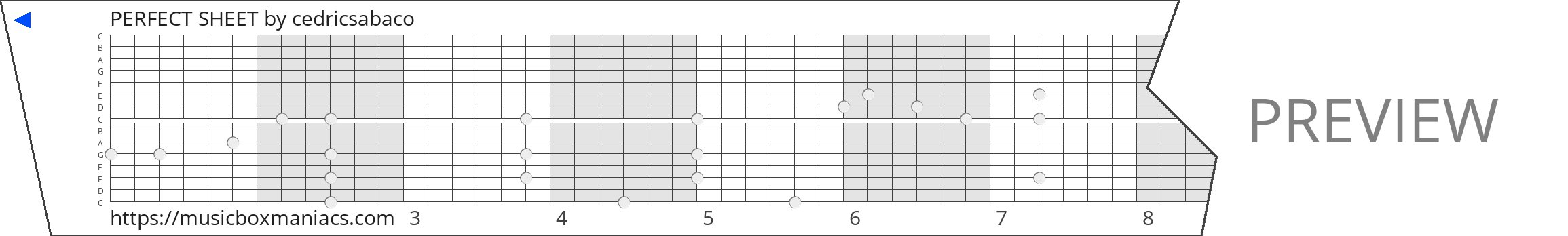 PERFECT SHEET 15 note music box paper strip