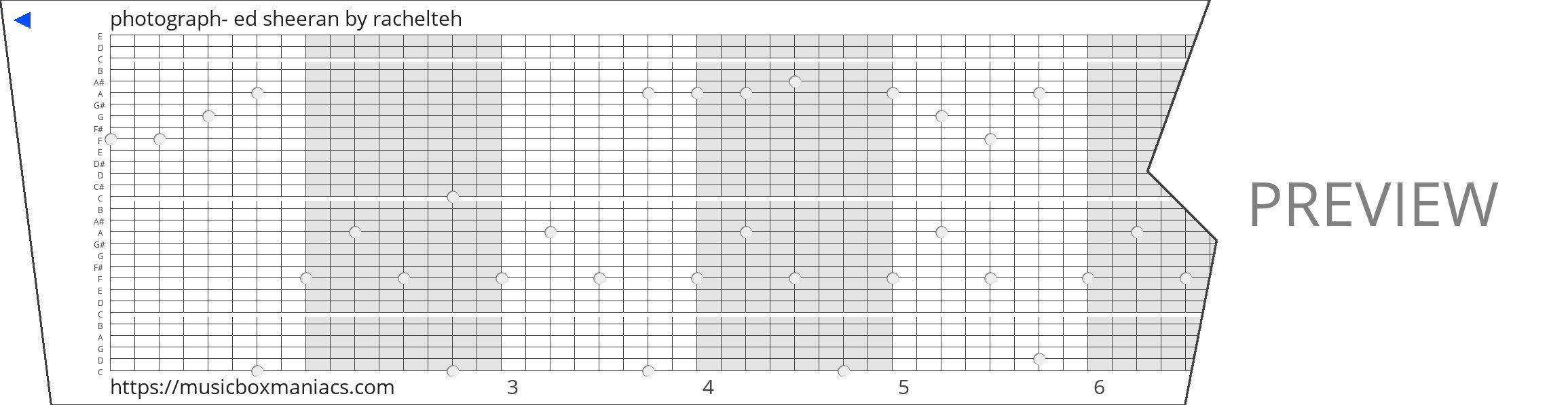 photograph- ed sheeran 30 note music box paper strip