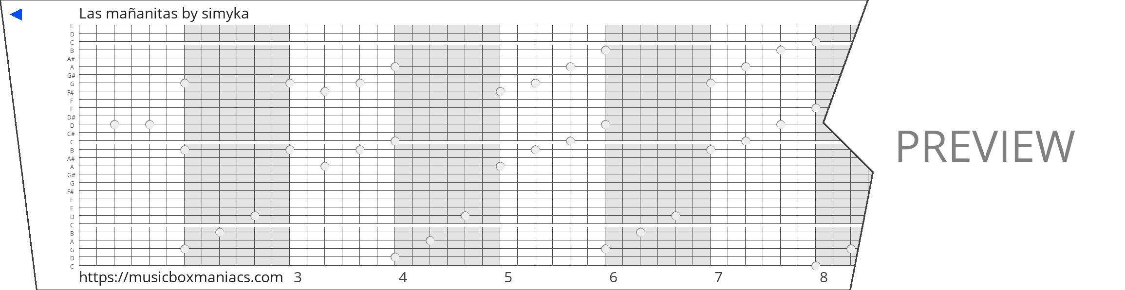 Las mañanitas 30 note music box paper strip