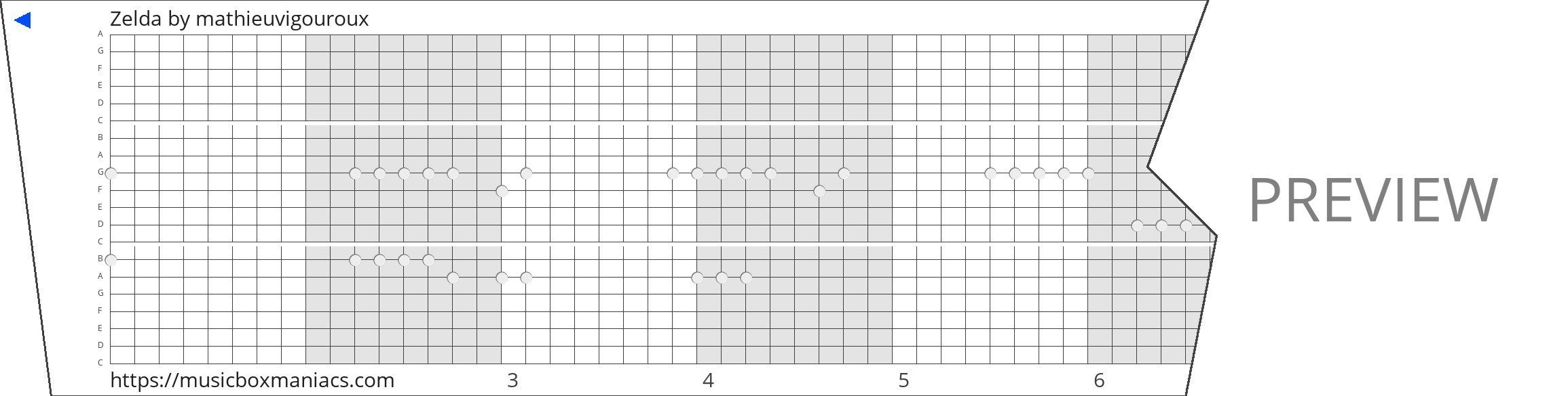 Zelda 20 note music box paper strip