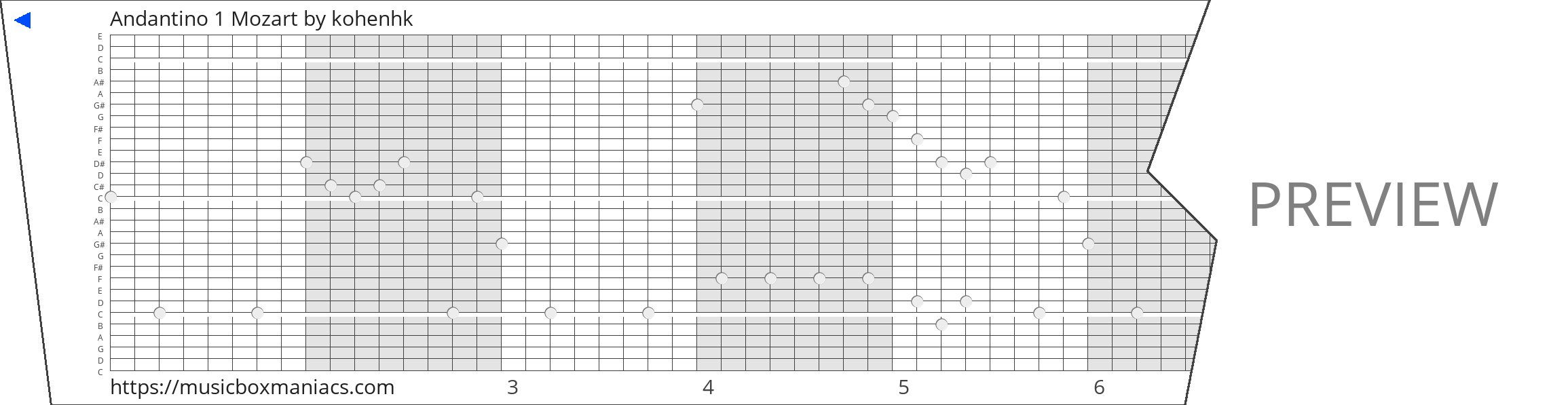 Andantino 1 Mozart 30 note music box paper strip