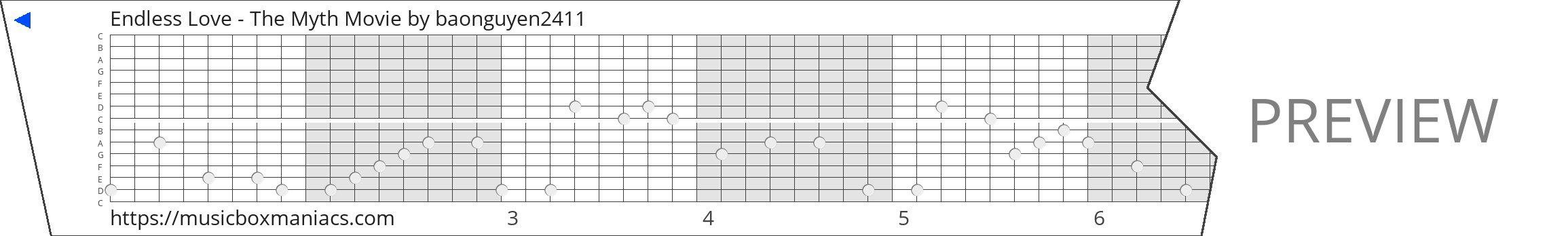 Endless Love - The Myth Movie 15 note music box paper strip