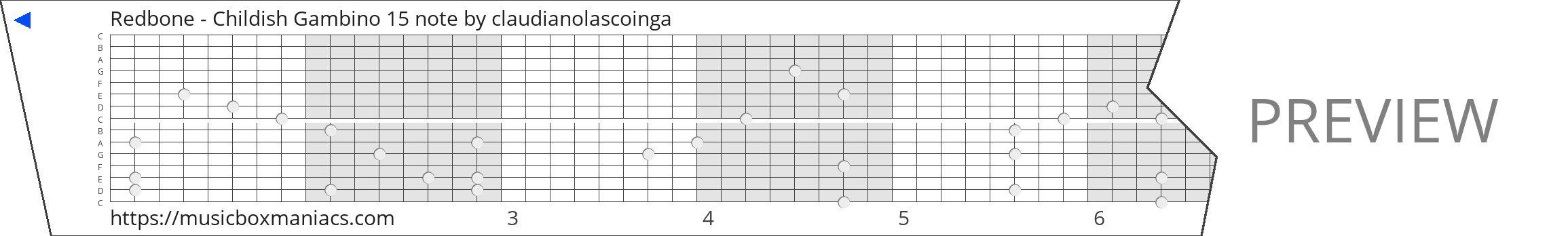 Redbone - Childish Gambino 15 note 15 note music box paper strip