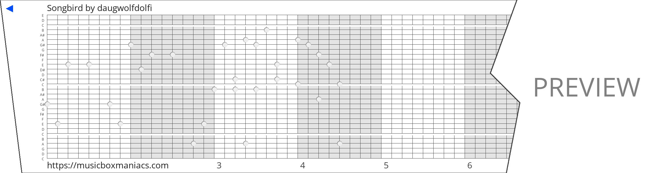 Songbird 30 note music box paper strip