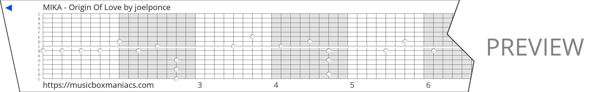 MIKA - Origin Of Love 15 note music box paper strip