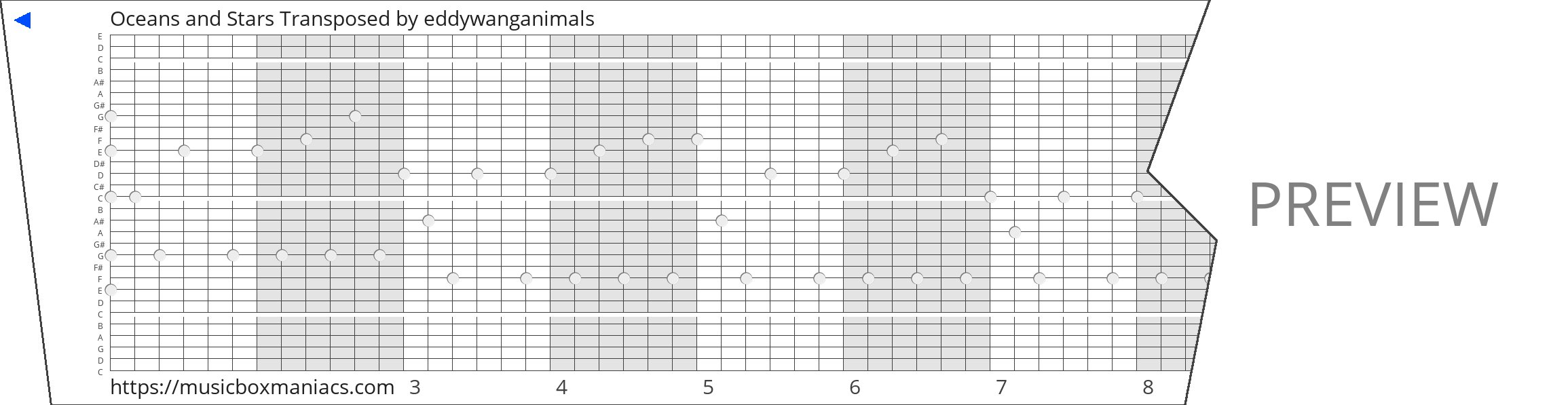 Oceans and Stars Transposed 30 note music box paper strip