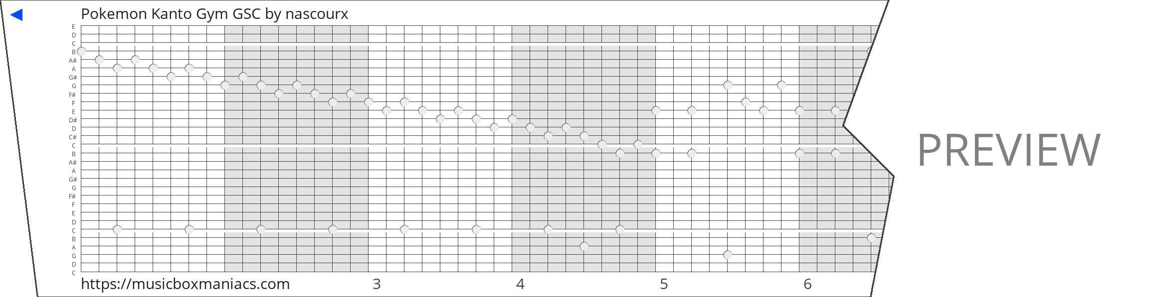 Pokemon Kanto Gym GSC 30 note music box paper strip
