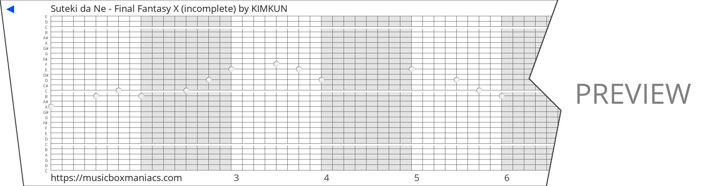 Suteki da Ne - Final Fantasy X (incomplete) 30 note music box paper strip
