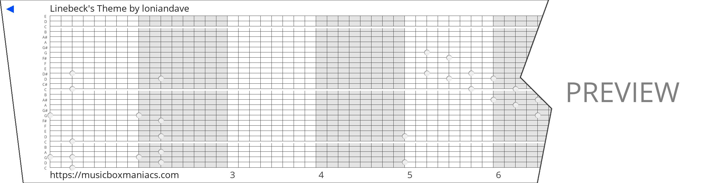Linebeck's Theme 30 note music box paper strip