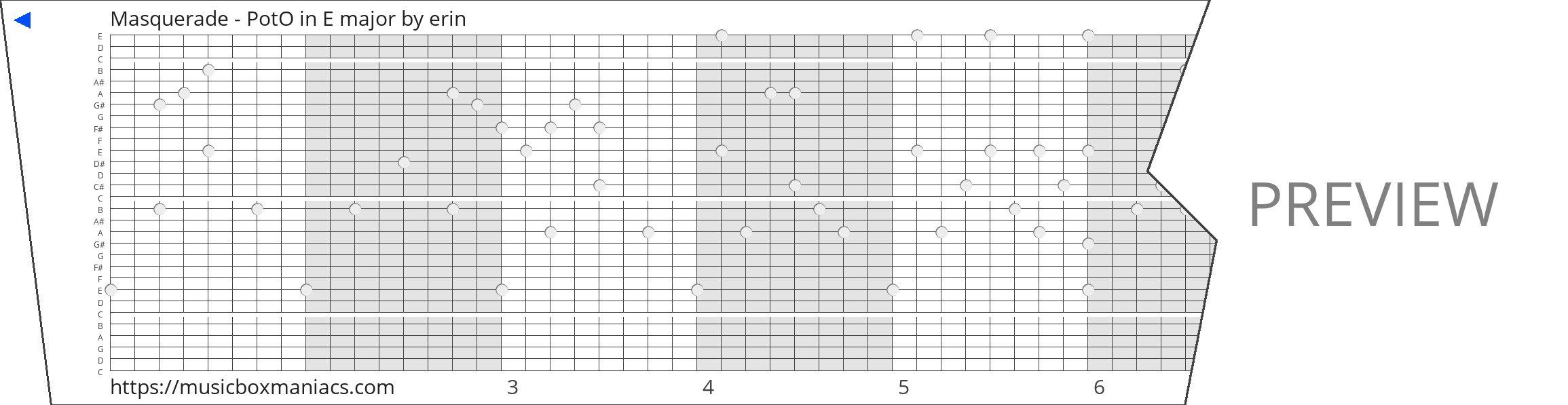 Masquerade - PotO in E major 30 note music box paper strip
