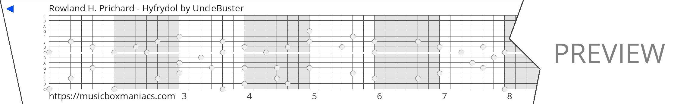 Rowland H. Prichard - Hyfrydol 15 note music box paper strip