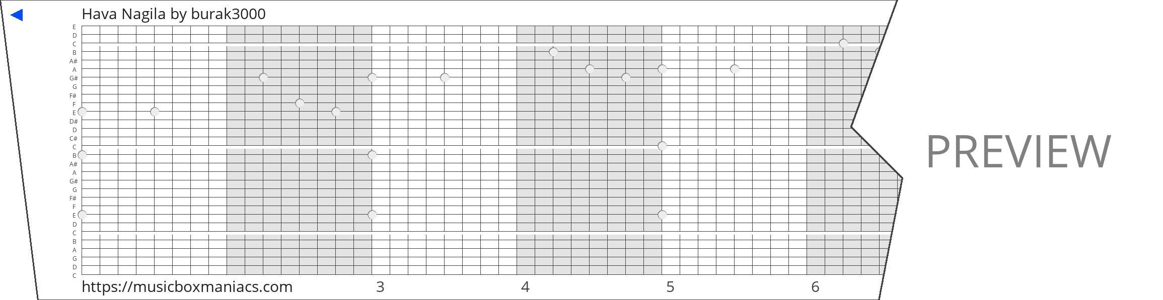 Hava Nagila 30 note music box paper strip