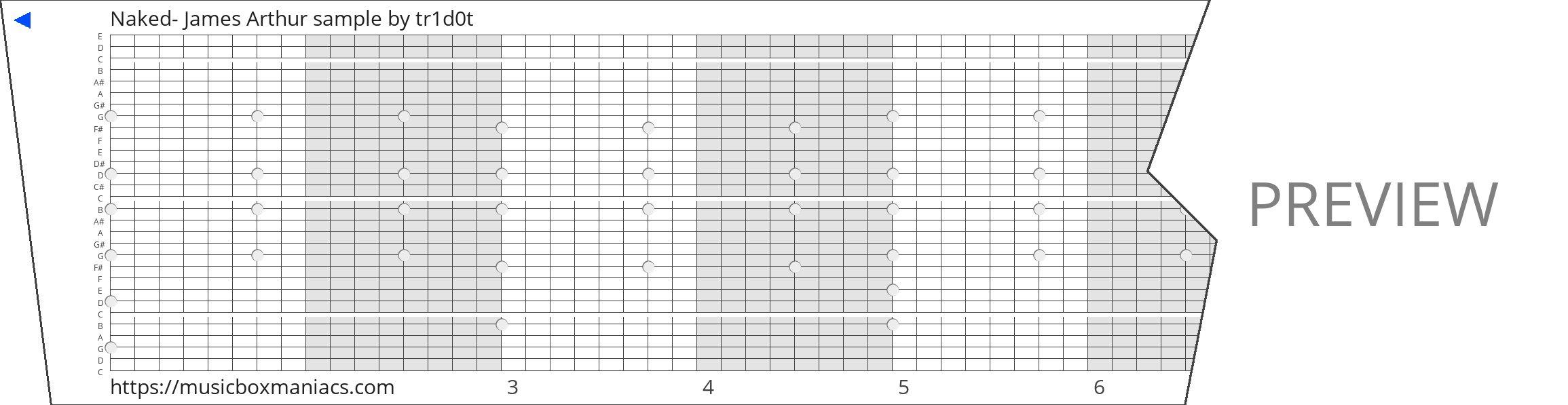 Naked- James Arthur sample 30 note music box paper strip
