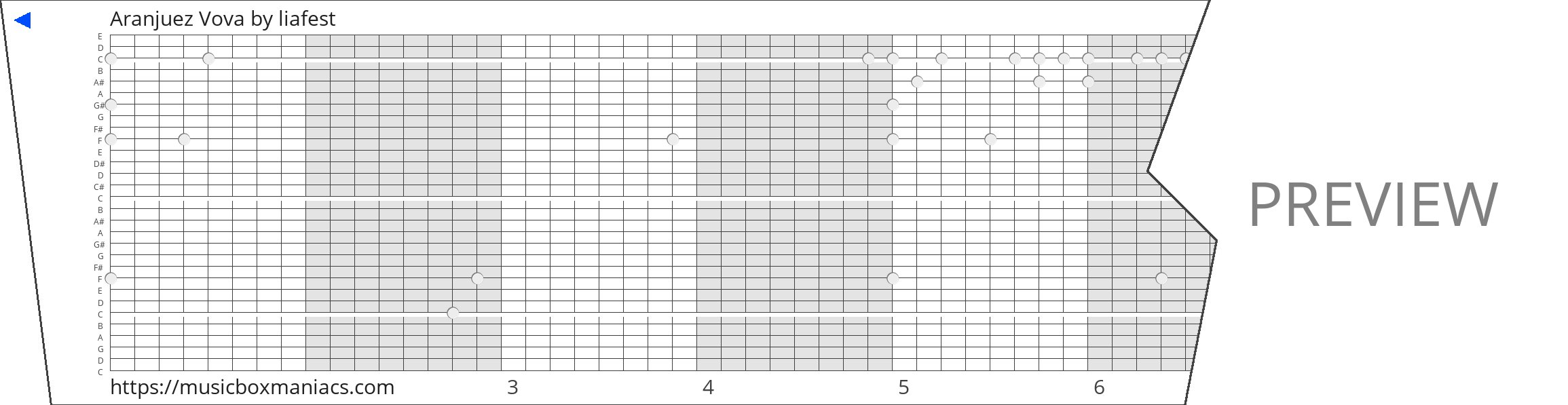 Aranjuez Vova 30 note music box paper strip