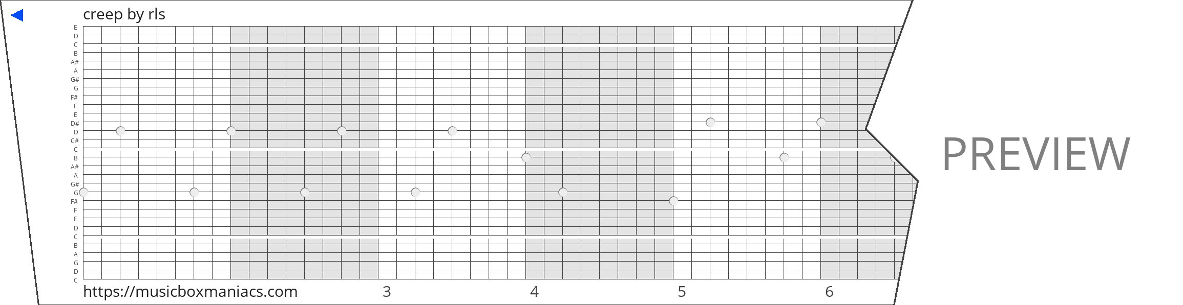 creep 30 note music box paper strip