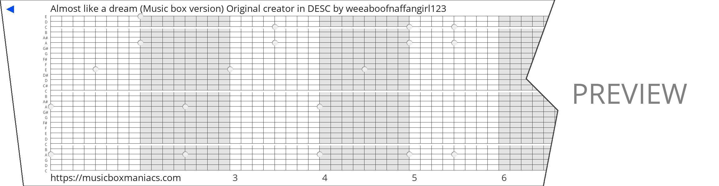 Almost like a dream (Music box version) Original creator in DESC 30 note music box paper strip
