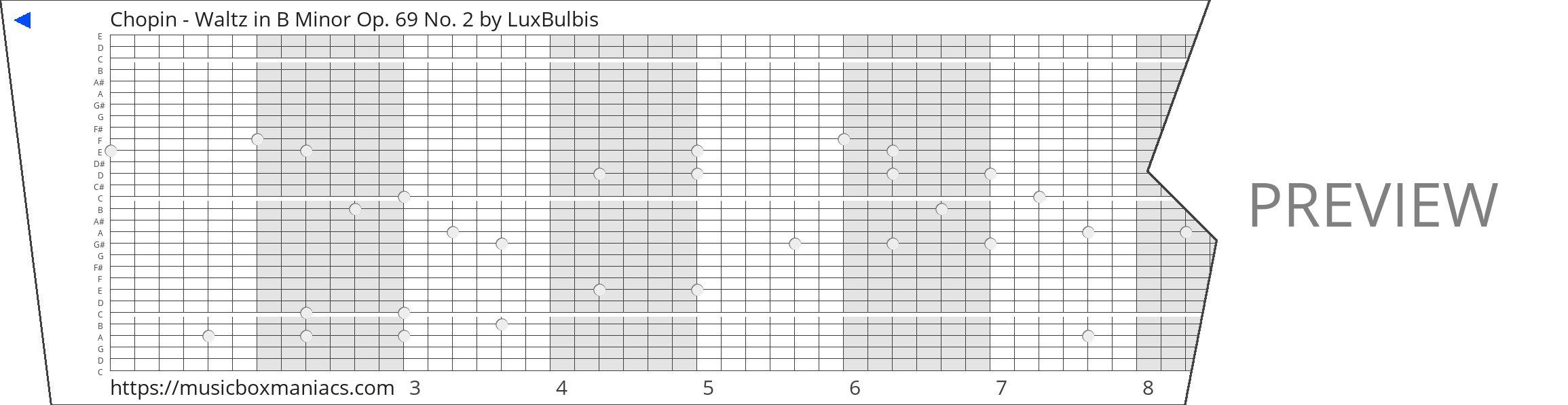 Chopin - Waltz in B Minor Op. 69 No. 2 30 note music box paper strip