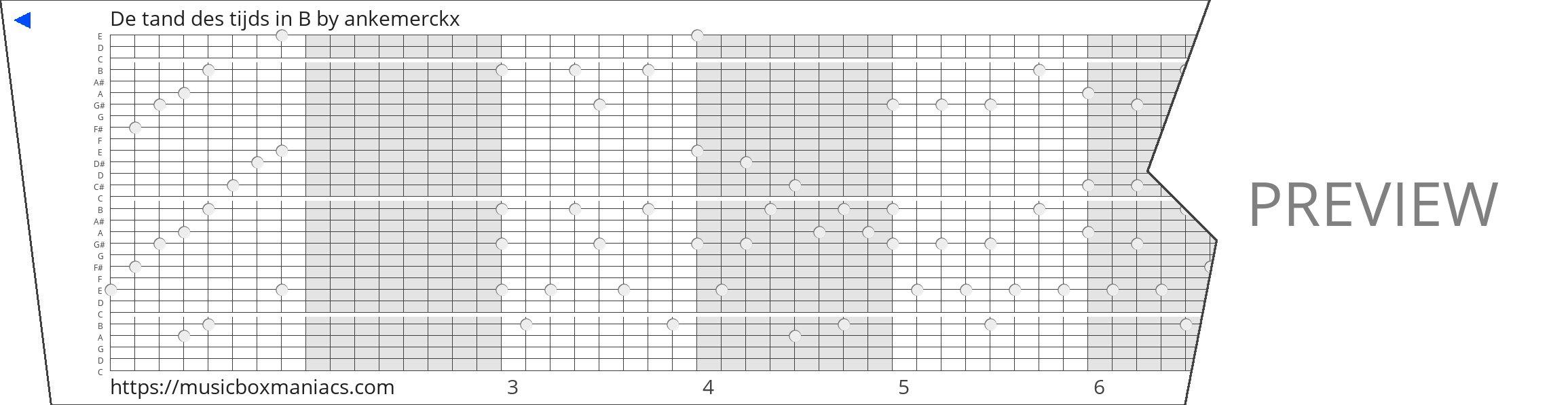 De tand des tijds in B 30 note music box paper strip