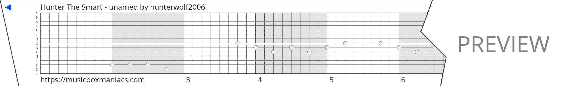 Hunter The Smart - unamed 15 note music box paper strip