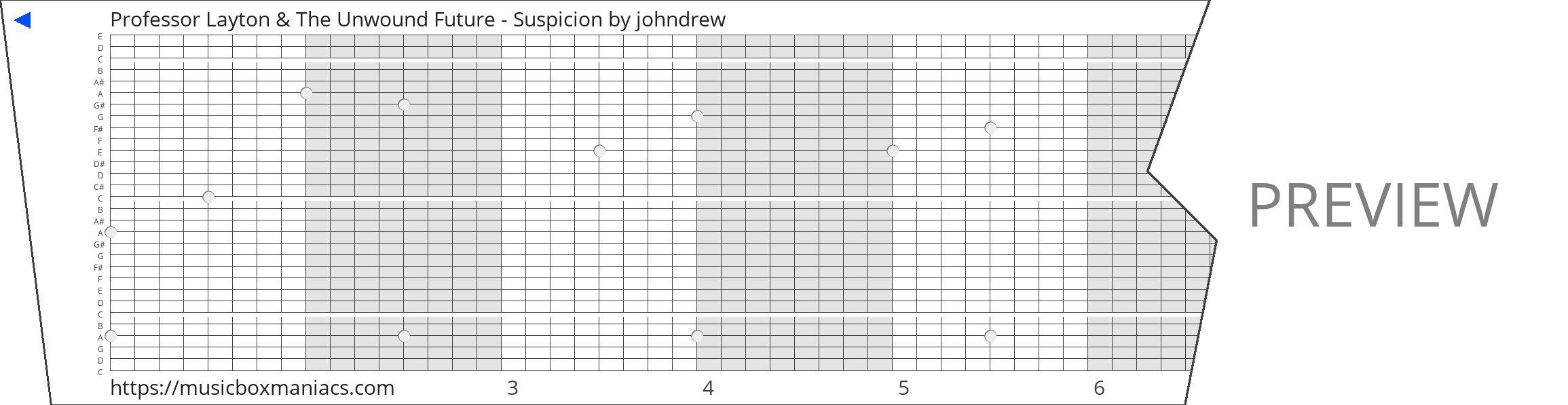 Professor Layton & The Unwound Future - Suspicion 30 note music box paper strip