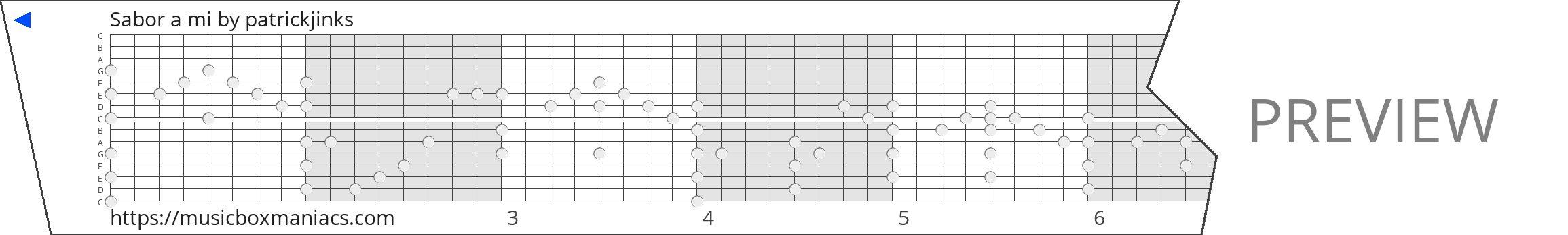 Sabor a mi 15 note music box paper strip