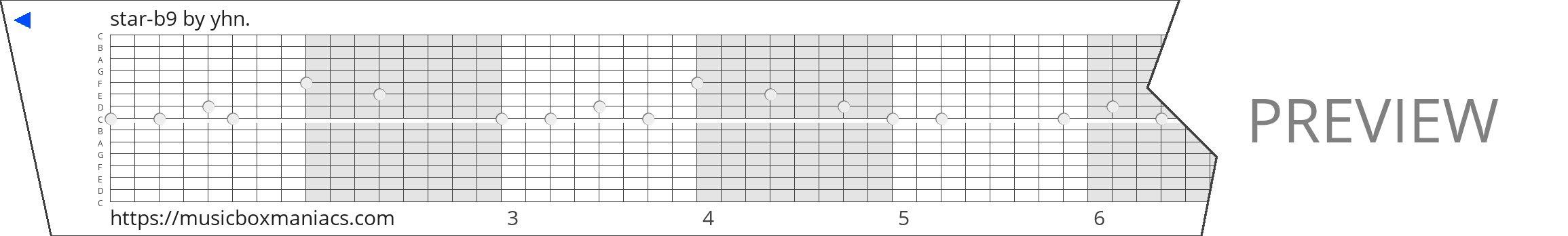 star-b9 15 note music box paper strip