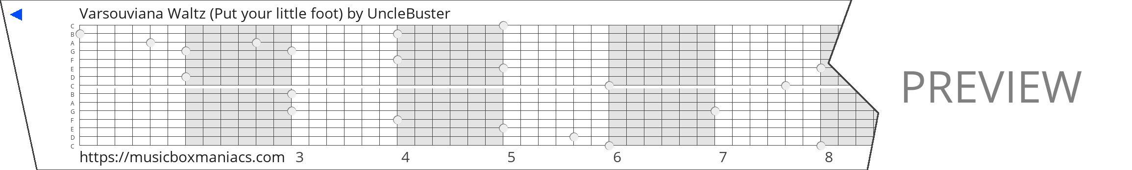 Varsouviana Waltz (Put your little foot) 15 note music box paper strip