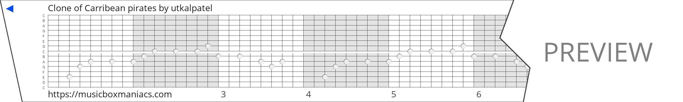 Clone of Carribean pirates 15 note music box paper strip