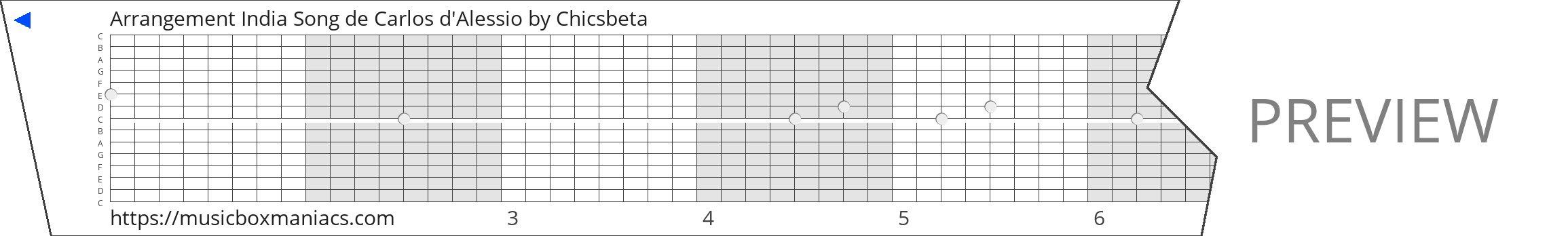 Arrangement India Song de Carlos d'Alessio 15 note music box paper strip