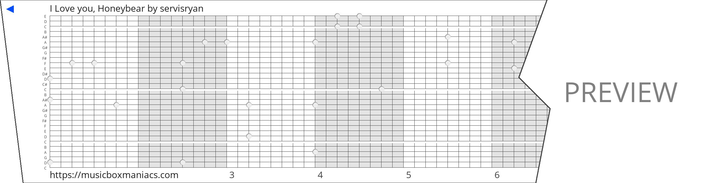 I Love you, Honeybear 30 note music box paper strip