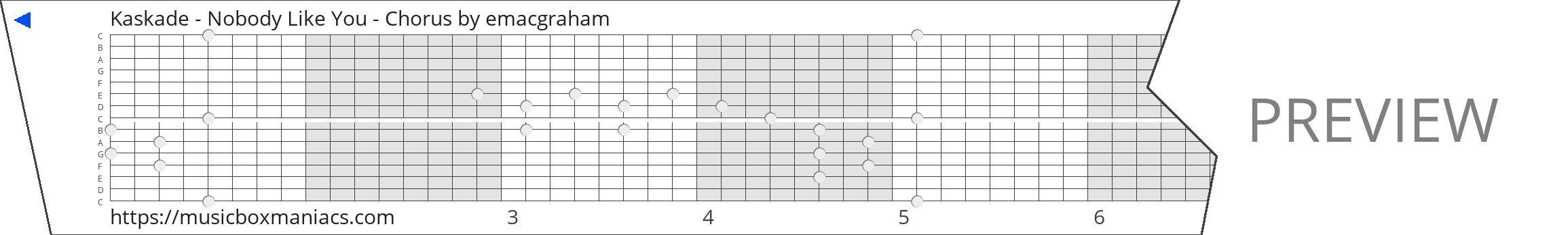 Kaskade - Nobody Like You - Chorus 15 note music box paper strip