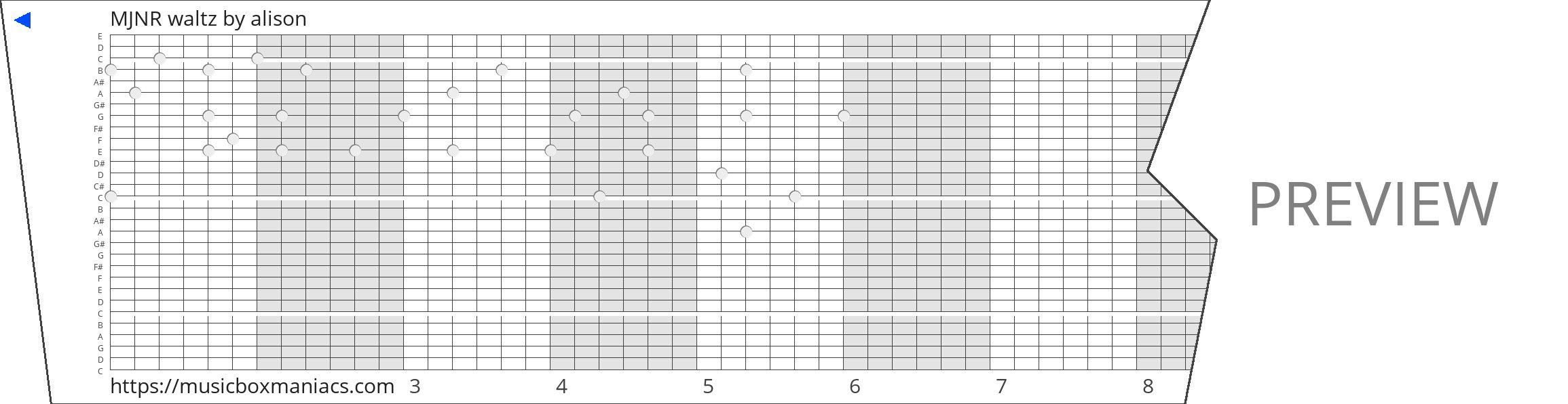 MJNR waltz 30 note music box paper strip